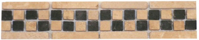 Border #4B: Checkerboard Design: 2-3/4' 'x 12'' Durango/Black Tumbled