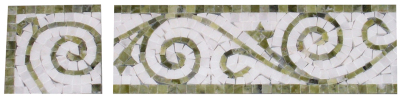 "Border & Corner #26WG Vine Design: 4"" x 12'' White Statuary Calacatta & Green Olivine Marble Polished"