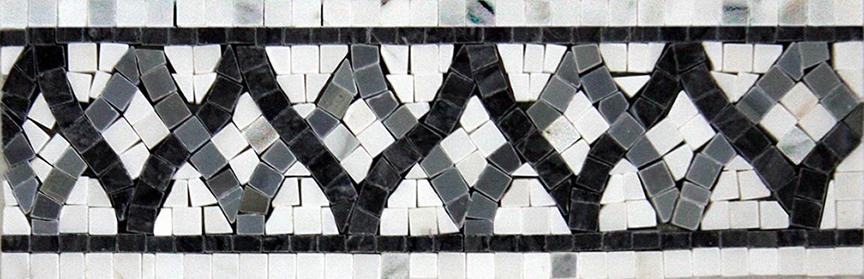 "Border: #23WCB Woven Design: 3-7/8"" x 12"" White Statuary Calacatta, Charcoal & Blue Saveh"