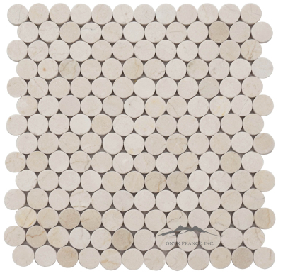 Cream Marfil Marble 1'' Circle Mosaic Polished