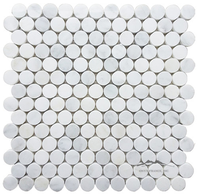 White Statuary Calacatta Marble 1'' Circle Mosaics Polished