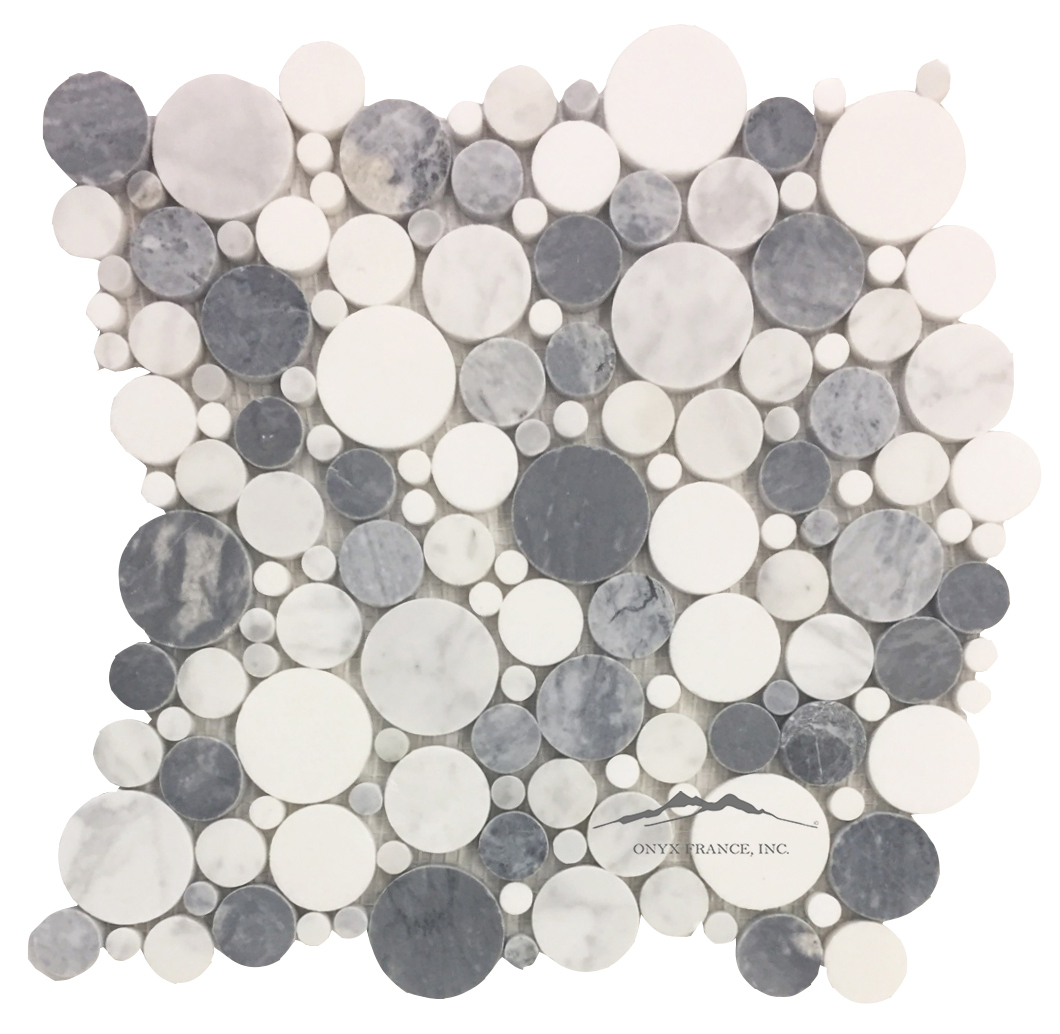 Bubbles Mosaic: White Carrara Venatino, Grey Mist, White Thassos Marble Polished