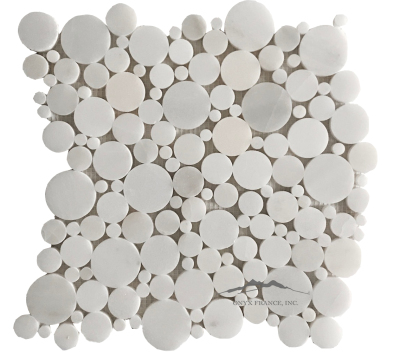 Bubbles Mosaic: White Snow Marble Polished
