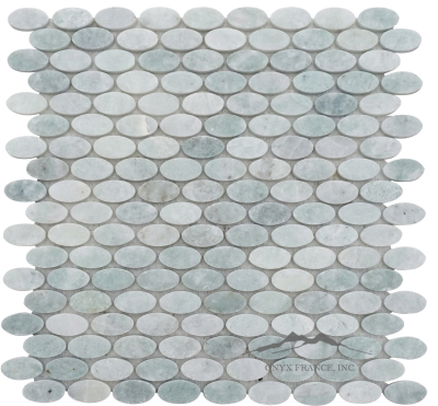 Ovals Mosaic: Ming Green Marble Polished