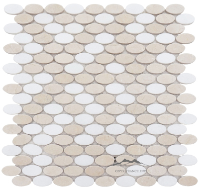 Ovals Mosaic: Cream Marfil and White Thassos Marble Polished