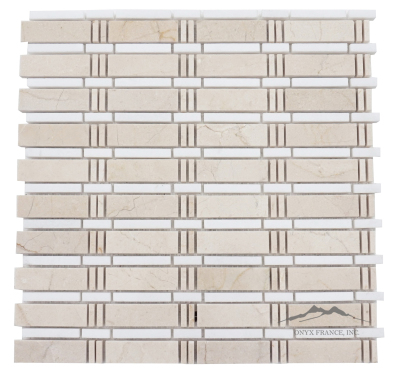 Curtain Mosaic: Cream Marfil (larger size) and White Thassos Marble Polished (1.09 SF/SHT