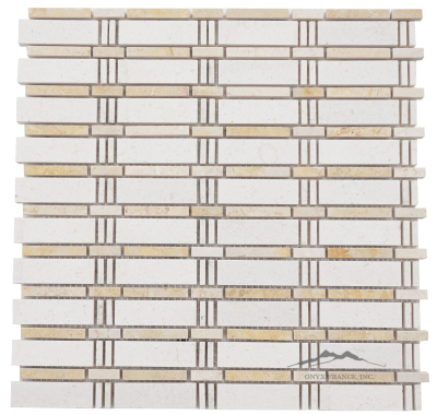 Curtain Mosaic: Crema Lyon (larger size) and Jerusalem Gold Limestone Polished (1.09 SF/SHT