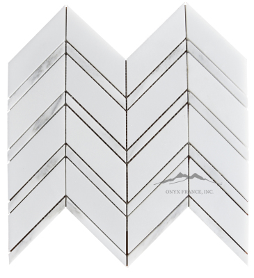 "Chevron 1. White Silk 1-5/8 x 5"" with White Statuary Calacatta 1/2 x 5"" Lines Mosaic Polished (1.24 SF/SHT)"