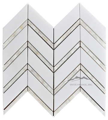 "Chevron 2. White Thassos Marble 1-5/8 x 5"" with Mother of Pearl 1/2 x 5"" Lines Polished (1.24 SF/SHT)"