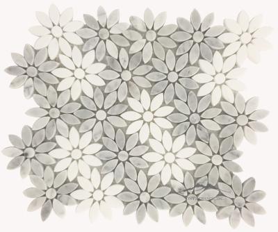 "Bloom- 3"" White Carrara Venatino & White Thassos Random Mosaic Polished; Item #MWCVPWTBLMP (1.08 SF/SHT)"