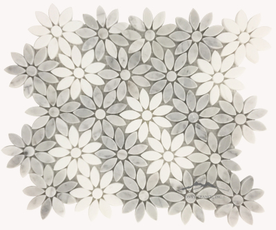 "Bloom- 3"" White Carrara Venatino & White Thassos Random Mosaic Polished; Item #MWCVPWTBLMP (1.08 SF/SHT)"