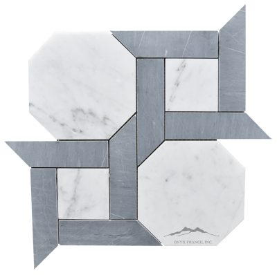 "Cambridge 1. White Carrara Venatino 6"" Hexagon with 1.5 x 6"" Bardiglio Marble Bars Honed Mosaic"