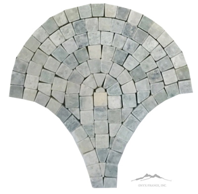 "Ming Green Marble 8"" Fan Mosaics Tumbled, (4pcs/sf)"