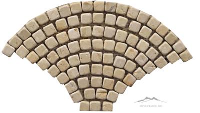 "Fan Mosaic: Renaissance Bronze 8"" Limestone Tumbled (4 PCS/SF)"