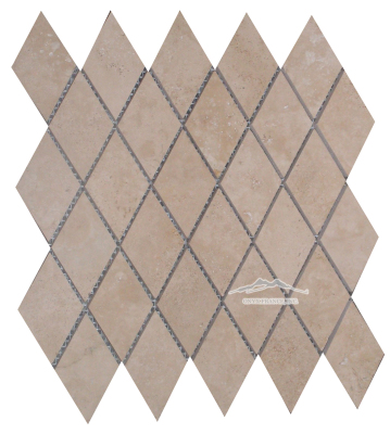 "Durango Travertine Harlequin 2-1/4"" x 3-13/16"" x 3/8"" Mosaic: Honed & Unbeveled"