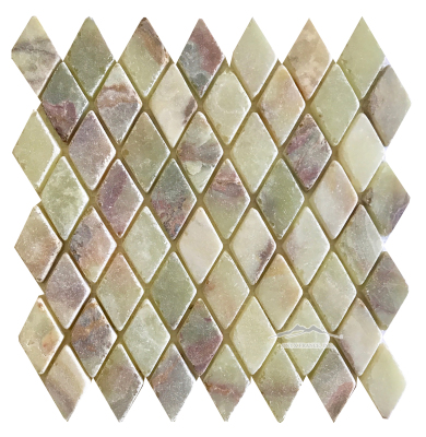 "Green Persian Pistachio Onyx Harlequin 1-3/8'' x 2-1/4'' x 3/8"" Tumbled"