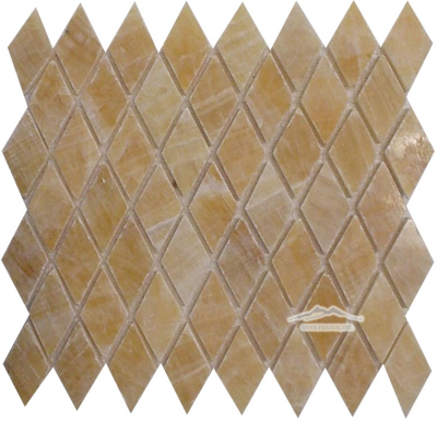 "Harlequin 1-3/8"" x 2-3/4"" Golden Honey Onyx Polished Mosaic (also avail: Tumbled)"