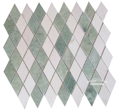 "Harlequin 1-3/8"" x 2-3/4"" Ming Green & White Snow Marble: Polished & Tumbled Avail"