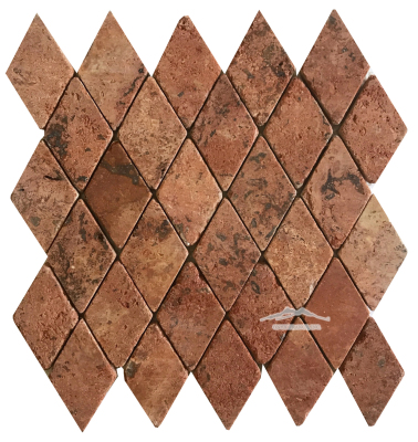 "Harlequin 2-1/8"" x 3-5/8"" Red Mexican Travertine Mosaic Tumbled"