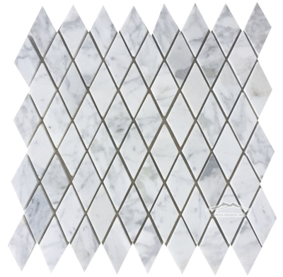 "Harlequin 1-3/8"" x 2-3/4"" White Carrara Venatino Polished Mosaic"