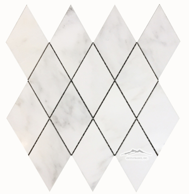 "White Statuary Calacatta Marble Diamonds: 3-1/4"" x 5-3/4"" Mesh-Mounted Polished"