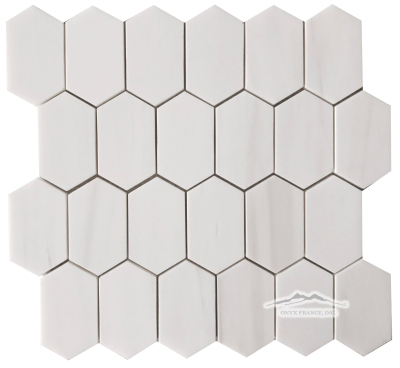 "White Elegant Marble Elongated Hexagon  2n"" x 3.25"" Mosaic Polished"