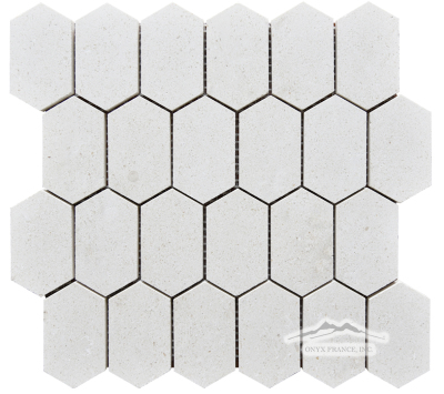 "Elongated Hexagon: Crema Lyon 2n"" x 3.25"" Mosaic Polished"