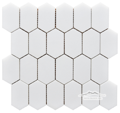"White Silk Elongated Hexagon 2n"" x 3.25"" Mosaic Polished"