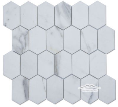 "White Statuary Calacatta Marble Elongated Hexagon 2n"" x 3.25"" Mosaic Polished"