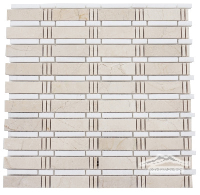 Curtain Mosaic: Cream Marfil (larger size) and White Thassos Marble Polished