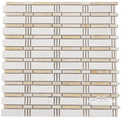 Curtain Mosaic: Crema Lyon (larger size) and Jerusalem Gold Limestone