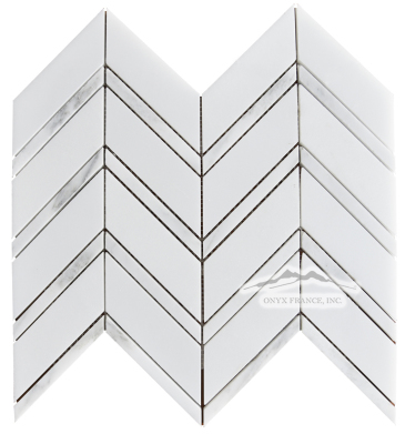 "Chevron 1. White Silk 1-5/8 x 5"" with White Statuary Calacatta 1/2 x 5"" Lines Mosaic"