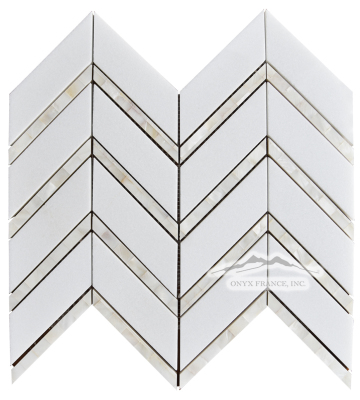 "Chevron 2. White Thassos Marble 1-5/8 x 5"" with Mother of Pearl 1/2 x 5"" Lines Polished"
