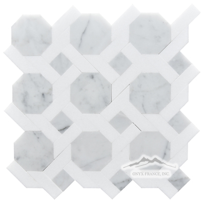 LaVita 1. White Carrara Venatino (Premium) with White Thassos Polished Mosaic
