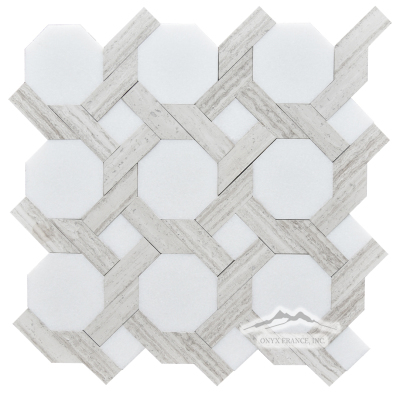 LaVita 3. White Thassos Marble with White Stratta (White Wood) Limestone Honed Mosaic