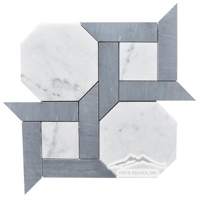 "Cambridge 1. White Carrara Venatino 6"" Hexagon w/ 1.5 x 6"" Bardiglio Marble Bars Honed, Item # MWCVPBACAM1H"