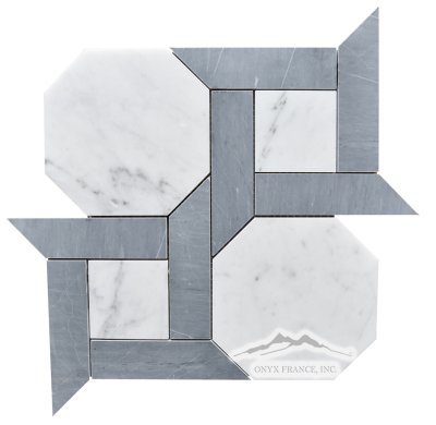 "Cambridge 1. White Carrara Venatino 6"" Hexagon w/ 1.5 x 6"" Bardiglio Marble Bars Honed"