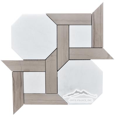 "Cambridge 2. White Statuary Calacatta  6"" Hexagon with 1.5 x 6"" Brown Stratta Limestone Bars Honed, Item # MWSCBSTCAM2H"