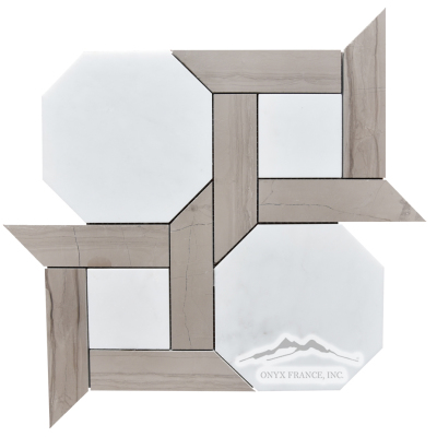"Cambridge 2. White Statuary Calacatta  6"" Hexagon with 1.5 x 6"" Brown Stratta (Athens Grey) Marble Bars Honed Mosaic"