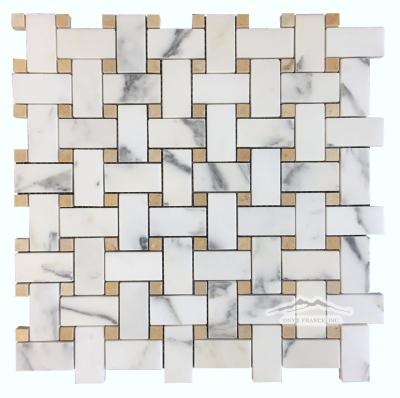Calacatta Gold 1'' x 2'' Basketweave with 3/8'' Jerusalem Gold Dot
