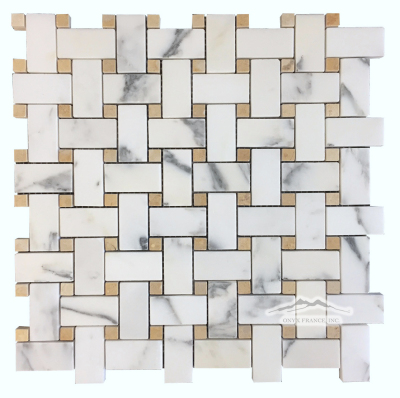 Calacatta Gold 1'' x 2'' Basketweave with 3/8'' Jerusalem Gold Dot Polished