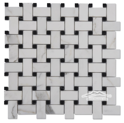 """Calacatta Gold 1"""" x 2"""" Basketweave with 3/8'' Black Marble Dot"""