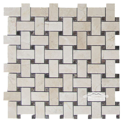 "Basketweave: Cream Marfil 1"" x 2"" with 3/8"" Brown Emperador Marble Mosaic Polished"