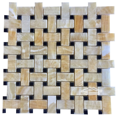 "Basketweave: 1"" x 2"" Golden Honey w/ 3/8"" Black Dot Mosaic Polished"