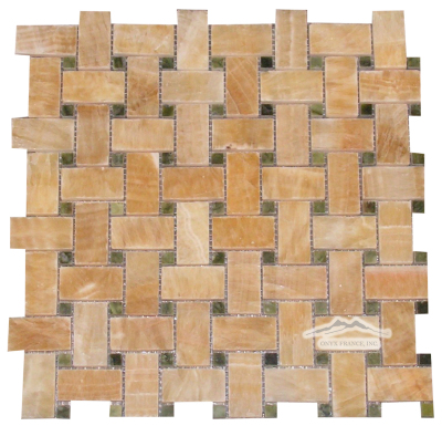 "Basketweave Mosaic: 1"" x 2"" Golden Honey Onyx w/ 3/8"" Green Olivine Dot Polished"