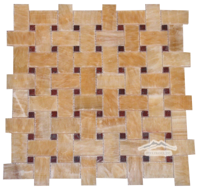 Golden Honey Onyx 1'' x 2'' Basketweave with 3/8'' Maroon Marble Dot Polished