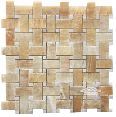 "Basketweave: 1"" x 2"" Golden Honey w/ 3/8"" Thassos Dot Mosaic Polished"