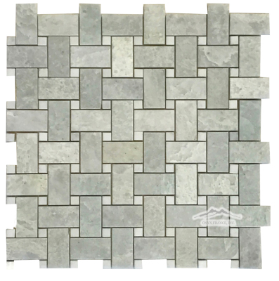 "Ming Green 1"" x 2"" Basketweave with 3/8"" White Thassos Marble Dots Polished"