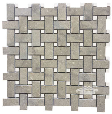"Olive Green Limestone 1"" x 2"" Basketweave with 3/8'' Crema Lyon Dot honed"