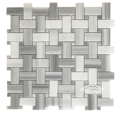 "Basketweave: Silver Paradise 1"" x 2"" with 3/8'' Silver Paradise Dot Mosaics Polished"